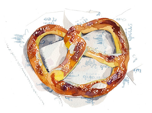 watercolour-bread-illustration-pretzel-painting-food-illustration